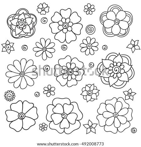 Set flowers on white background spring stock vector 492008773 set flowers on a white background spring flowers set colorful spring flowers set mightylinksfo