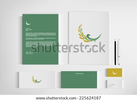 set folder Rice documentation for business. vector