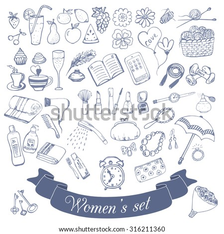 Set  for a woman, the little things and accessories, fashion and beauty, sports and food, hand drawn doodle seamless pattern