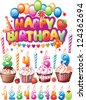 Set for Birthday cards - stock vector