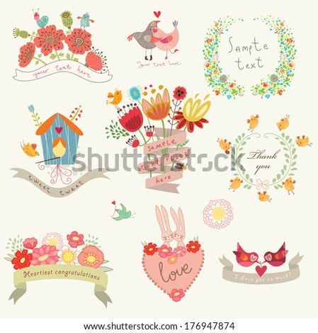 Set for congratulations - stock vector