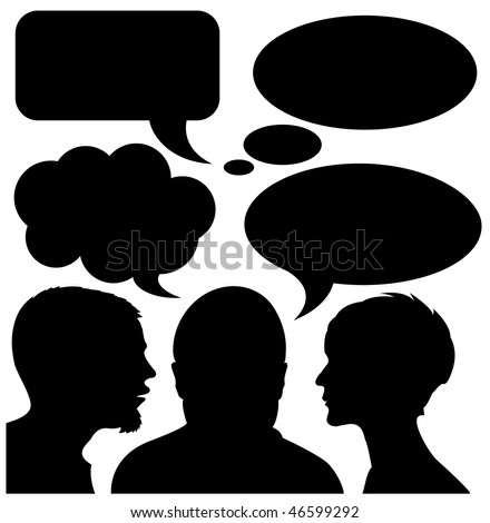 Set for creating your own comic strip - bubbles and silhouettes - stock vector