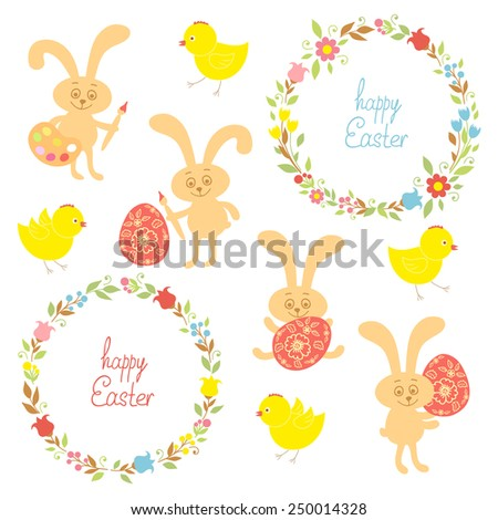 Set for Easter, Easter bunnies, flowers, birds, chickens. Vector illustration - stock vector