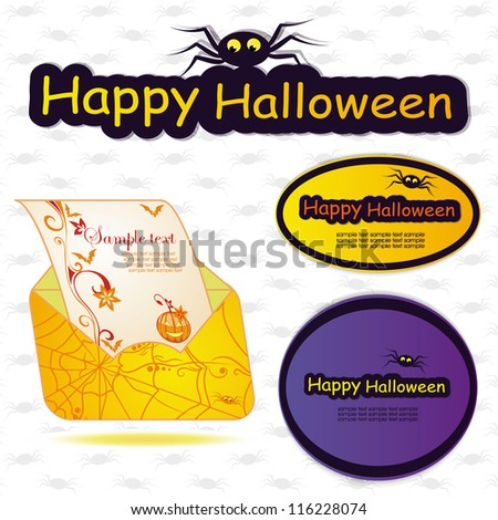 Set for Halloween template frame. vector illustration