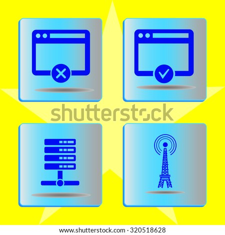Set for internet. Server icons. - stock vector