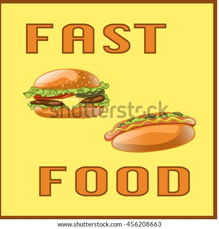 Set for Menu Card, poster, brochure, web, mobile application. Colorful cartoon icons with fast food meal isolated on yellow background. Banner with hamburger and hot dog. Vector Illustration.