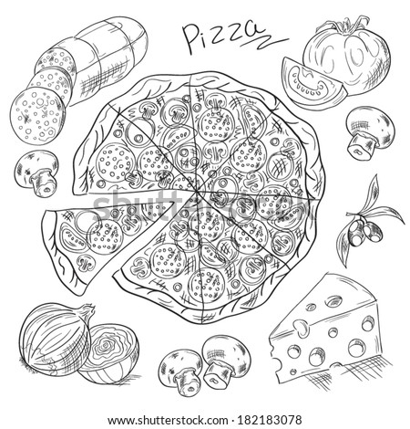 Set for pizza. Sketch vector illustration  - stock vector