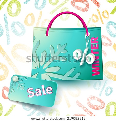 Set for promotion: bright blue shopping bag with advertising seasonal winter sell-out and fob as a sign of percent and sale label on seamless background with percent symbols - stock vector