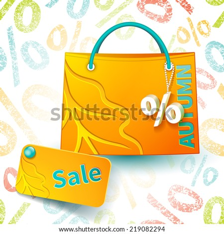 Set for promotion: bright orange shopping bag with advertising seasonal autumn sell-out and fob as a sign of percent and sale label on seamless background with percent symbols - stock vector