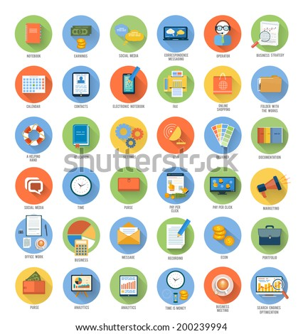 Set for web and mobile applications of office work, social media, seo search optimization, pay per click, analysis of documents, purse, support, designer, marketing concepts items icons in flat design - stock vector