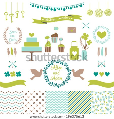 Set for wedding design. Includes a cake, cupcakes, flags, arrows, frames, hearts, banks, keys, tape, pigeons, seamless floral, stripes, doted, chevron patterns. Love elements for your design Eps 10