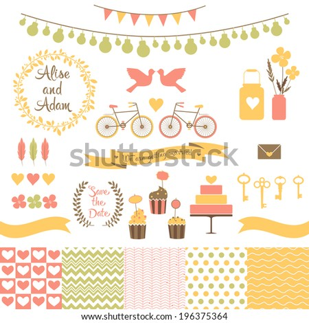Set for wedding design. Save the date. The set includes frames, cake, cupcakes, flags, flowers, hearts, banks, keys, tape, bikes, pigeons, seamless patterns. Eps 10 - stock vector