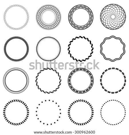 Set fractal and swirl shape element. Vintage monochrome different objects. Vector decorative sample. Diaphragm, border, outline black color - stock vector