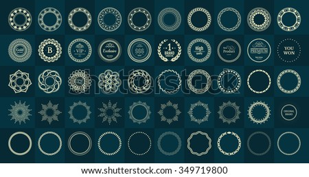Set fractal and swirl shape element. Vintage monochrome round objects. Vector decorative sample. Diaphragm, border, outline yellow color in green blue background. Round black shapes with text - stock vector