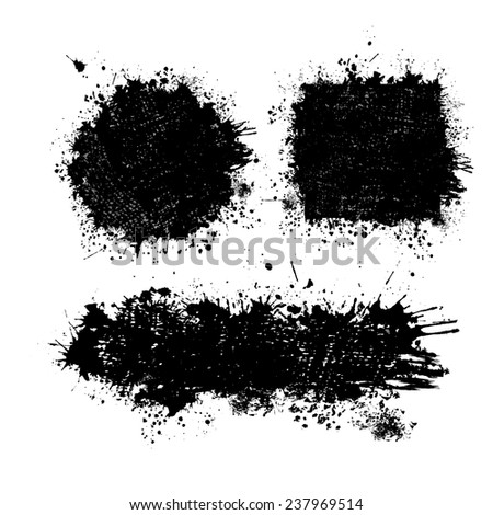 set frame of abstract ink spots. Vector  - stock vector
