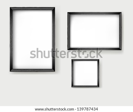 Set frames wooden isolated on white - stock vector