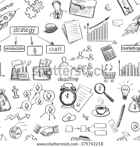 Set freehand drawing sketches on the theme of business . Black and white graphically isolated elements . The icons on the theme of finance, documents , office staff , business -project stage . - stock vector