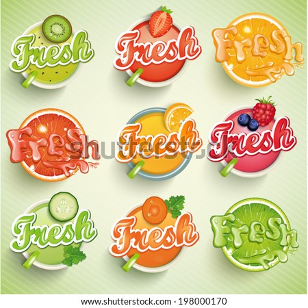 Set fresh grapefruit, carrot, cucumber, raspberries, blueberries, strawberries, kiwi, orange, lime. Vector.  - stock vector