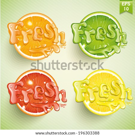 Set fresh grapefruit, lemon, orange, lime. Vector.  - stock vector
