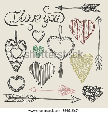 """Set from archers and the hearts made of different materials - from wood, from fabric, drawn from lines and shadings.With an inscription by hand - """"I love you"""".Devoted to St. Valentine's Day. Vector. - stock vector"""