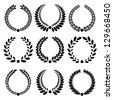 Set from  black laurel wreath on the white background - stock