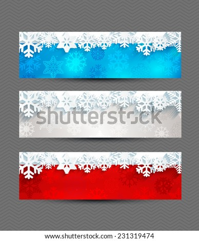 Set from Christmas bright banners with snowflakes and a frame for the text. - stock vector