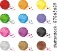 Set from color ball of threads isolated on White background. Vector illustration - stock photo