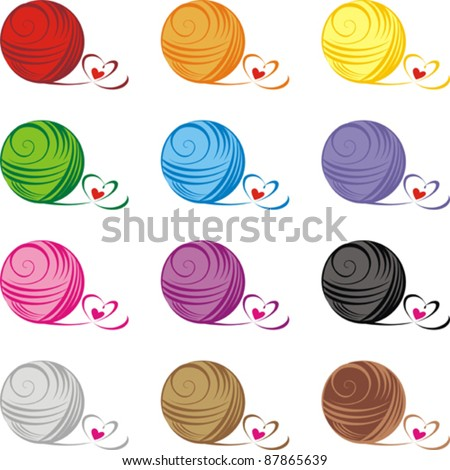 Set from color ball of threads isolated on White background. Vector illustration - stock vector