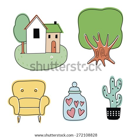 Set from cute illustrations - stock vector