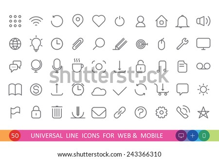 set from 50 flat linear icons for web and mobile - stock vector