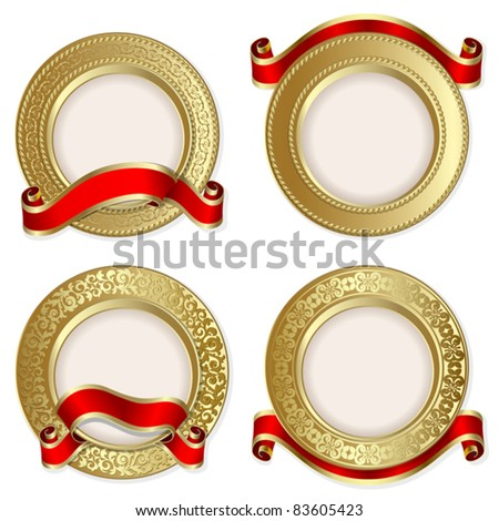 Set from  gold backgrounds with red ribbon on the white background - stock vector