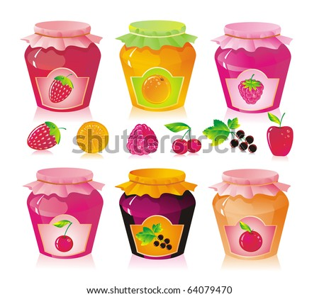 Set from jars with fruit and berry jam - stock vector
