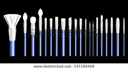 Set from makeup brushes different forms