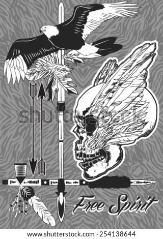 Set from nine vector compositions in style of the Wild West in black - stock vector