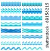 Set from sixteen topics with stylized waves - stock vector