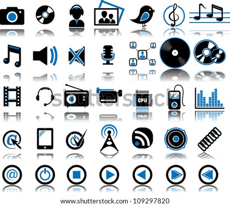 Set from 35 (thirty five) multimedia icons - stock vector