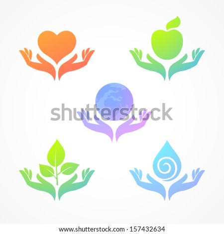 Set from transparent color icons: nature, care, environment - stock vector