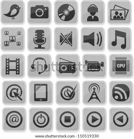 Set from 25 (twenty five) multimedia icons - stock vector