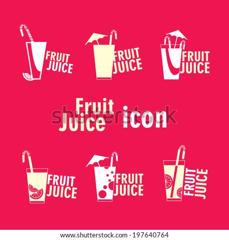 Set fruit Juice flat icon. Vector illustration. - stock vector
