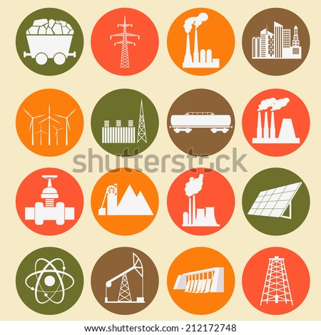 Set 16 fuel and energy icons. Vector illustration