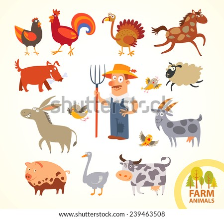Set funny farm little animals. Funny cartoon character. Vector illustration. Isolated on white background. Farmer, turkey, chicken, cock, horse, dog, sheep, goat, cow, horse, pig, donkey - stock vector