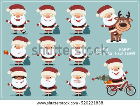 Set funny Santa Claus in different poses. Collection isolated Santa Claus with gift sack in cartoon style.