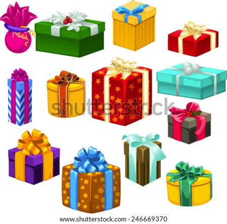 set gifts, holiday - stock vector