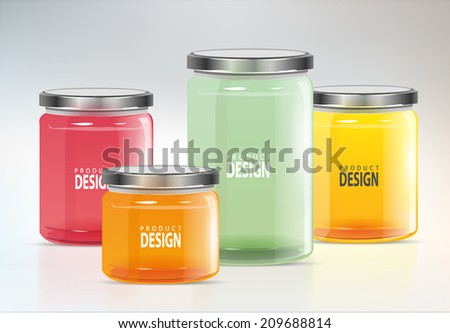 set glass jars vector illustration design - stock vector