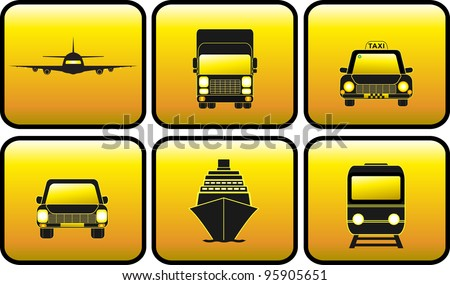 set glossy icon with transport silhouette - stock vector
