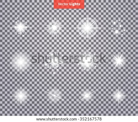 Set glows bright star light fireworks. Flash glow, sparkle illuminated, flare effect shine explosion, spark, starburst. Flare, star and burst. Isolated spark on transparency. Glow special effect light - stock vector