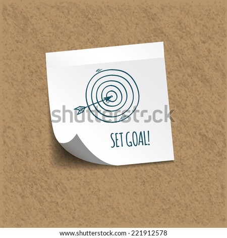 SET GOAL! written on an sticky note on an office cork bulletin board.  - stock vector