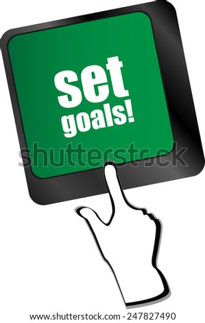 set goals button on keyboard - business concept - stock vector