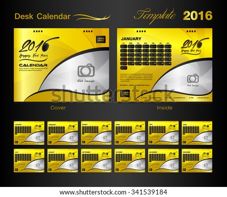 Set Black Desk Calendar 2016 Vector Stock Vector 341509430