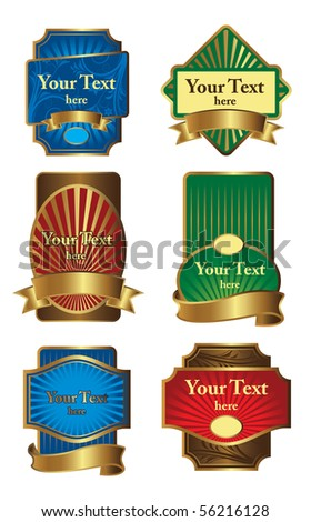 Set gold framed labels - stock vector